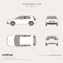2012 Volkswagen Golf Mk7 3-door Hatchback blueprint
