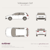 2012 Volkswagen Golf Mk7 5-door Hatchback blueprint
