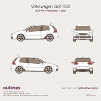 2005 Volkswagen Golf R32 Mk V 3-doors Hatchback blueprint