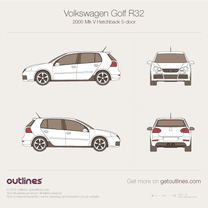 2005 Volkswagen Golf R32 Mk V 5-door Hatchback blueprint