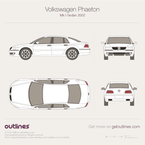 2002 Volkswagen Phaeton 3D Sedan blueprint