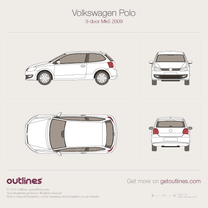 2009 Volkswagen Polo 3-door Hatchback blueprint