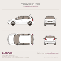 2005 Volkswagen Polo 9N 5-door Facelift Hatchback blueprint