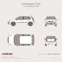 2005 Volkswagen Polo 9N 5-door Facelift Hatchback blueprint