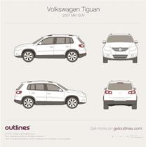 2007 Volkswagen Tiguan SUV blueprint