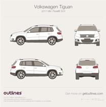 2011 Volkswagen Tiguan Facelift SUV blueprint