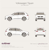 2017 Volkswagen Tiguan II SUV blueprint