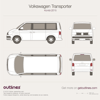 2015 Volkswagen Transporter Kombi T6 Wagon blueprint