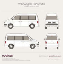 2015 Volkswagen Transporter Kombi T6 High Roof Wagon blueprint
