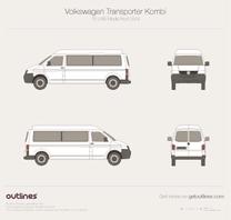 2003 Volkswagen Transporter Kombi T5 LWB Middle Roof Minivan blueprint