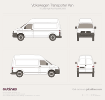 2009 Volkswagen Transporter Van T5 LWB High Roof Facelift Minivan blueprint