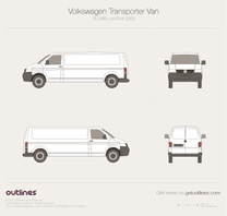 2003 Volkswagen Transporter Van T5 LWB Low Roof Minivan blueprint