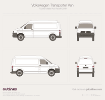 2009 Volkswagen Transporter Van T5 LWB Middle Roof Facelift Minivan blueprint
