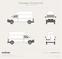 2003 Volkswagen Transporter Van T5 SWB High Roof Minivan blueprint