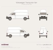 2003 Volkswagen Transporter Van T5 SWB High Roof Minivan blueprint
