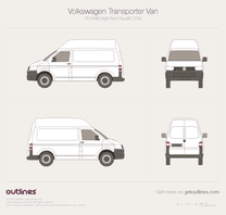 2009 Volkswagen Transporter Van T5 SWB High Roof Facelift Minivan blueprint