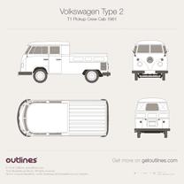1950 Volkswagen Type 2 T1 Pickup Crew Cab Pickup Truck blueprint