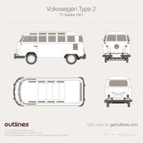 1950 Volkswagen Type 2 T1 Samba Microvan blueprint