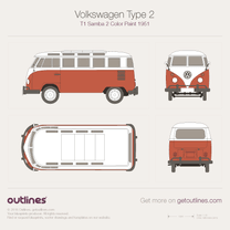 1950 Volkswagen Type 2 T1 Samba 2-Colors Paint Sealing Wax Red / Factory Color Microvan blueprint