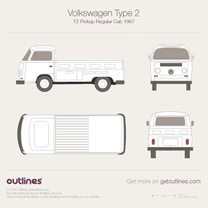 1967 Volkswagen Type 2 T2 Pickup Regular Cab Pickup Truck blueprint
