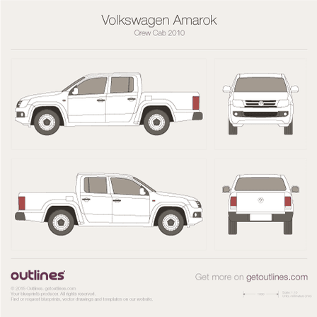 2010 Volkswagen Amarok Crew Cab Pickup Truck blueprints and drawings