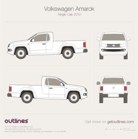 2010 Volkswagen Amarok Single Cab Pickup Truck blueprint