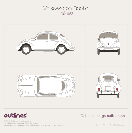 1950 Volkswagen Beetle 1200 Sedan blueprint