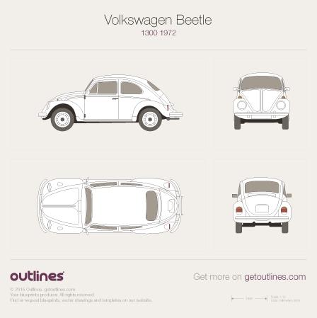 1970 Volkswagen Beetle Super Beetle 1300 / 1500 Sedan blueprint