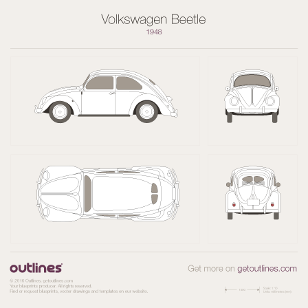 1948 Volkswagen Beetle Typ 1 Sedan blueprints and drawings