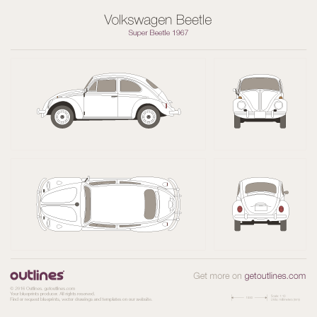 1960 Volkswagen Beetle Super Beetle 1200 Sedan blueprint