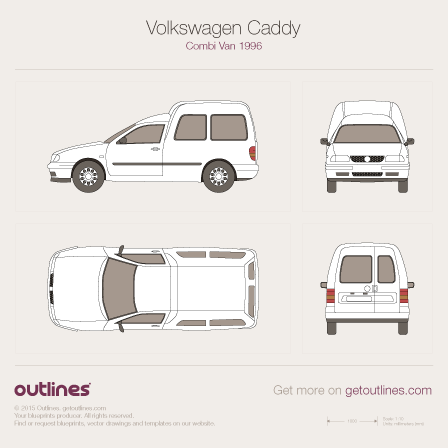 1997 Volkswagen Caddy Kombi Van Wagon blueprint