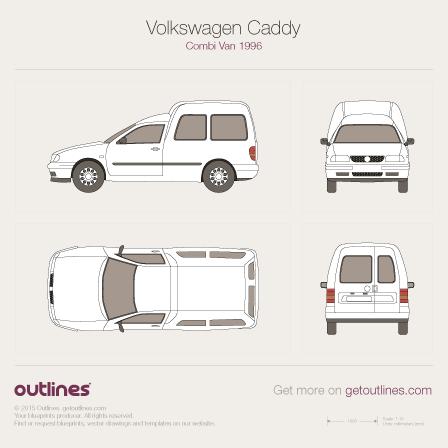 1997 Volkswagen Caddy Kombi Van Wagon blueprints and drawings
