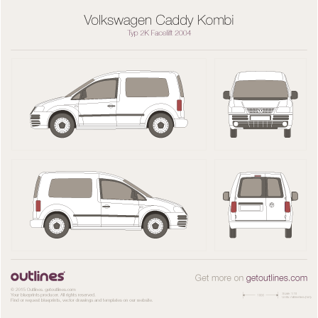 2004 Volkswagen Caddy Kombi Typ 2K Wagon blueprint