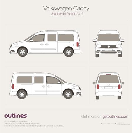 2015 Volkswagen Caddy Maxi Kombi Typ 2K Facelift II Wagon blueprint