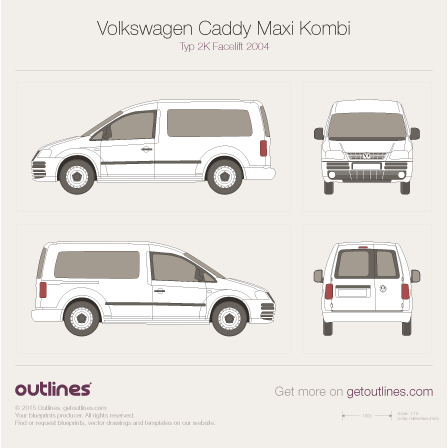 2004 Volkswagen Caddy Maxi Kombi Typ 2K Wagon blueprint