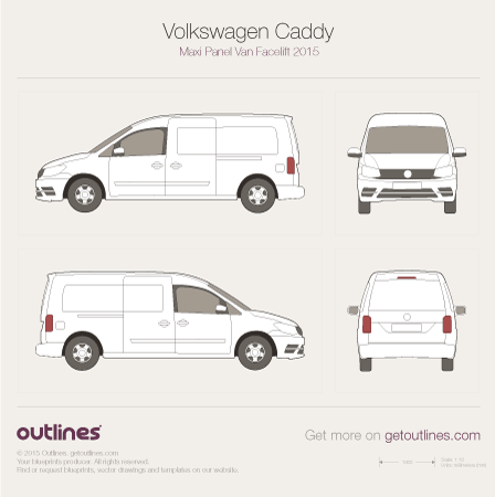2015 Volkswagen Caddy Maxi Panel Van Typ 2K Van blueprints and drawings