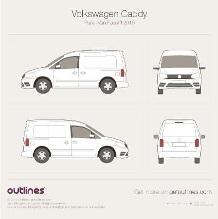 2015 Volkswagen Caddy Panel Van Typ 2K Facelift II Van blueprint