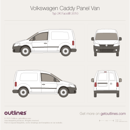 2010 Volkswagen Caddy Panel Van Typ 2K Facelift Van blueprint