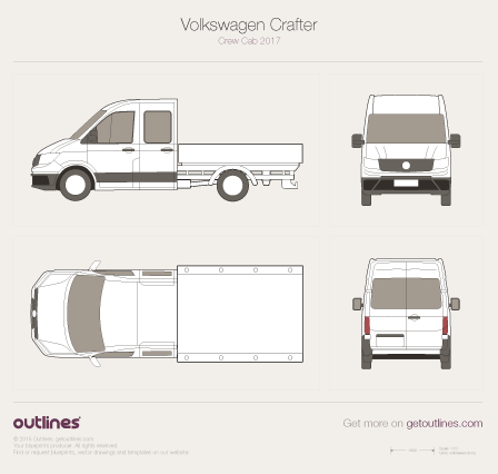 2017 Volkswagen Crafter Truck Crew Cab Pickup Truck drawings