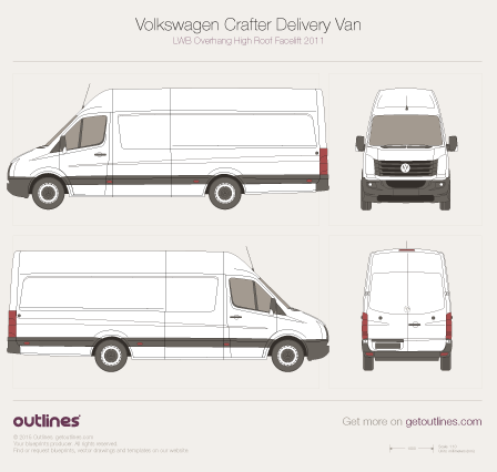 2011 Volkswagen Crafter Delivery Van LWB Overhang High Roof Facelift Van blueprint