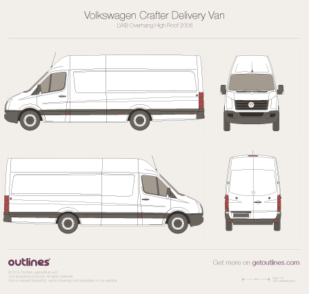 2006 Volkswagen Crafter Delivery Van LWB Overhang High Roof Van blueprint