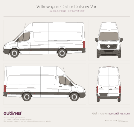 2011 Volkswagen Crafter Delivery Van LWB Super-High Roof Facelift Van blueprint
