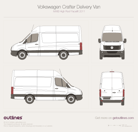 2011 Volkswagen Crafter Delivery Van MWB High Roof Facelift Van blueprint