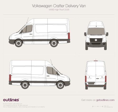 2006 Volkswagen Crafter Delivery Van MWB High Roof Van blueprint