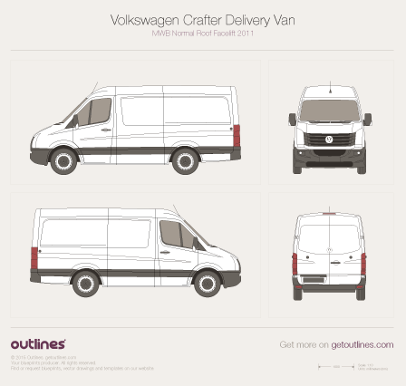 2011 Volkswagen Crafter Delivery Van MWB Normal Roof Facelift Van blueprint