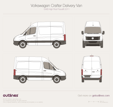 2011 Volkswagen Crafter Delivery Van SWB High Roof Facelift Van blueprint