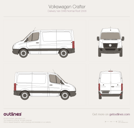 2006 Volkswagen Crafter Delivery Van SWB Normal Roof Van blueprint
