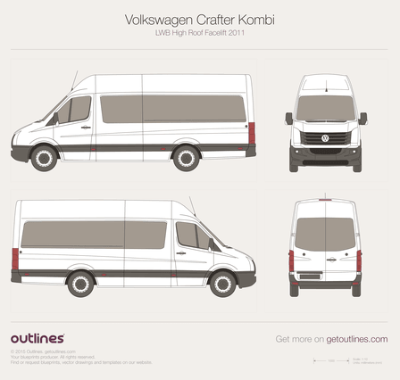 2011 Volkswagen Crafter Kombi LWB High Roof Facelift Wagon blueprint
