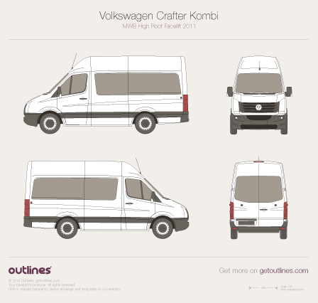 2011 Volkswagen Crafter Kombi MWB High Roof Facelift Wagon blueprint