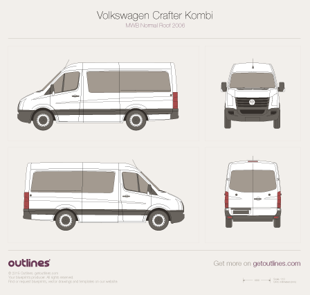2006 Volkswagen Crafter Kombi MWB Normal Roof Wagon blueprint